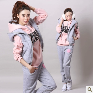 2014 sweatshirt piece set female winter dress autumn thickening fleece plus size clothing casual sports - Nana001 store