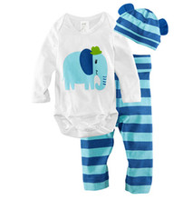2016 baby Long Sleeve Cotton Infant cartoon animal newborn baby clothing rompers + hat + pants clothing set 3 pieces