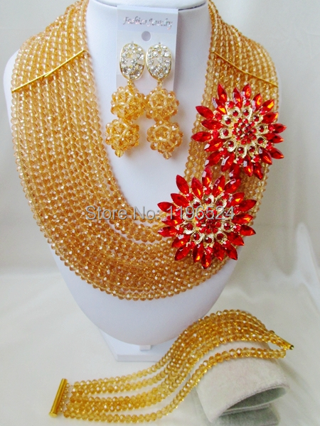 Luxury Champagne gold Crystal Necklaces Bracelet Earrings African Nigerian Wedding Beads Jewelry Set  A-7911<br><br>Aliexpress