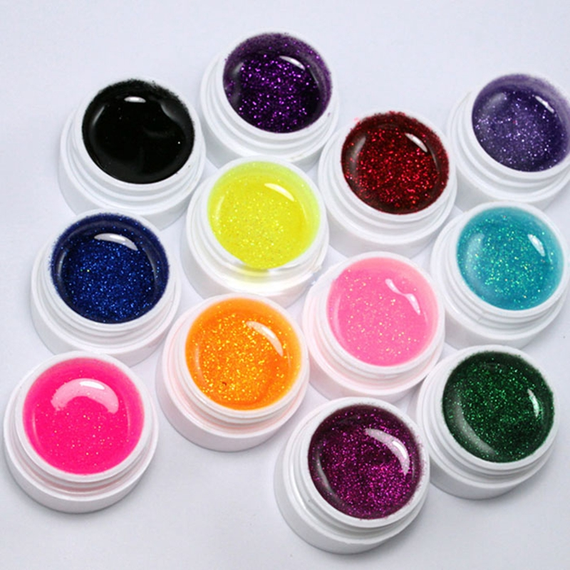 12 Color Glitter UV Gel Builder False Tips Acrylic Nail Art for Nailpolish Kit Set Nailart Dust Brand Make up tools Decorations(China (Mainland))