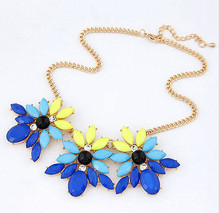 4-color 2014 new design summer fashion cute elegant flower rhinestone gem necklace choker jewelry for women statement XL-008