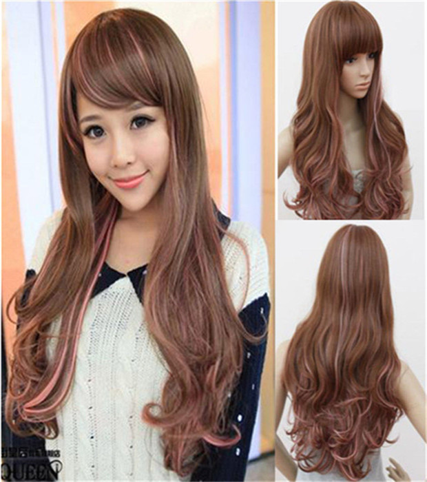 brown harajuku wigs 68 cm wig drag queen heat resistant synthetic wigs long curly brown wig peruca cosplay rosa<br><br>Aliexpress