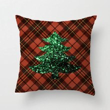 Red Tartan Christmas Tree Green Sparkles Pldesign Throw Pillow Case Decorative Cushion Cover Pillowcase Customize Gift For Sofa
