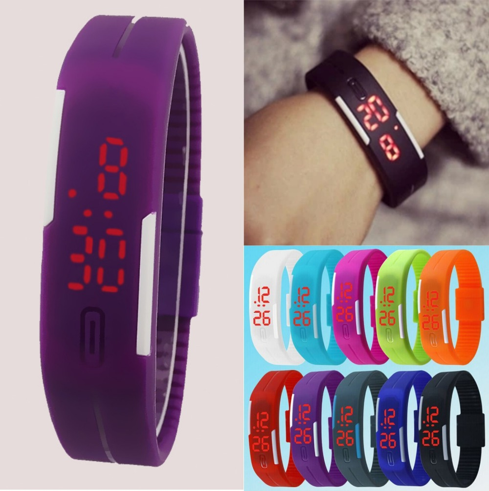 New 2015 Fashion Sport LED Watches Candy Color Silicone Rubber Touch Screen Digital Watches, Waterproof Bracelet Wristwatch(China (Mainland))