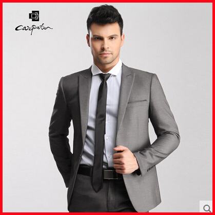 Drop Shop 2015 Wedding Dress Man Suit Mens Italian Suits One Button Black Gray Custom Made Suits Mens Tuxedo Jacket Big Size 4XL(China (Mainland))