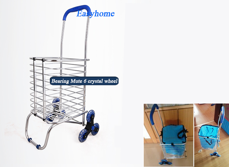 Free Shipping,women Shopping trolley & free fabric, hot Aluminium trolley,6 wheels push trailer,oldman climb stairs folding cart(China (Mainland))