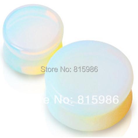 2pcs/lot High Transparent Glass Opal Stone Ear Gauges Plugs,Flesh Tunnel Stretching Saddle Fit Plugs Pinna Piercin(China (Mainland))