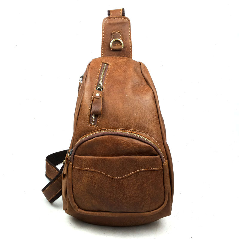 2016 New Fashion 100% Genuine Cowhide Leather Mens Chest Bag Traveling Hiking Bicycling Vintage Quality Messenger Bags smb419(China (Mainland))