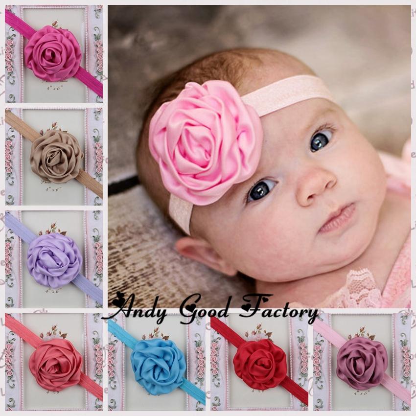 2014 Hot Design Adorable Rolled Satin Rose Headband Rosettes Fabric flowers Baby Girls Headband Hair Accessories 8pcs/lot HB048(China (Mainland))