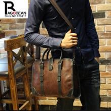 New fashion men leather pu briefcase messenger shoulder bag brands business handbag men s travel bag