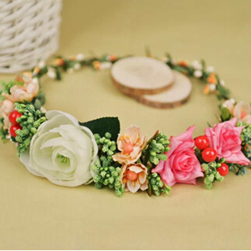 Fashion Wedding Floral Headband Floral Crown Flower Wreath Fascinator Festival Pink Purple Green Rose Flower Crown Flower Halo(China (Mainland))