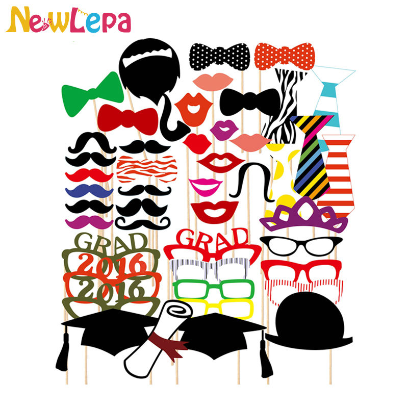2016 New Graduation 46pcs/lot Photo Booth Props Glasses Mustache Lip Bow On A Stick Wedding Birthday Party Fun Favor Decoration(China (Mainland))