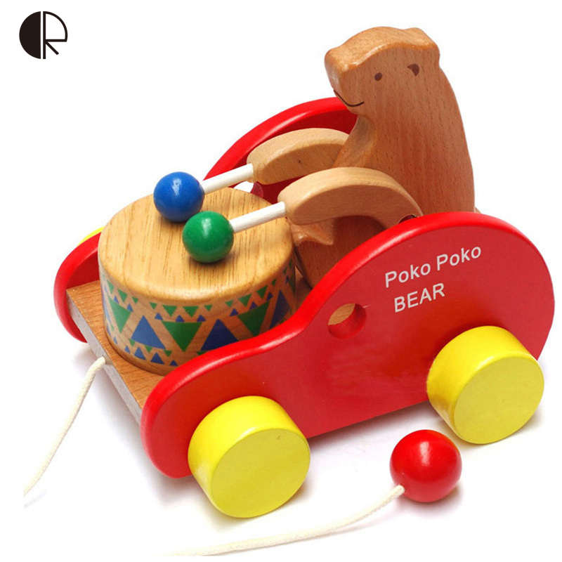 Baby Toys 2016 New Educational Wood Toy Car Children's toys Little Bear Beats Drum Wooden Car Toy Drop Shipping HT2643(China (Mainland))