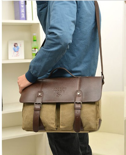 New leather handbags men messenger canvas solid vintage bag for zipper travel bags handbag casual freeshipping(China (Mainland))