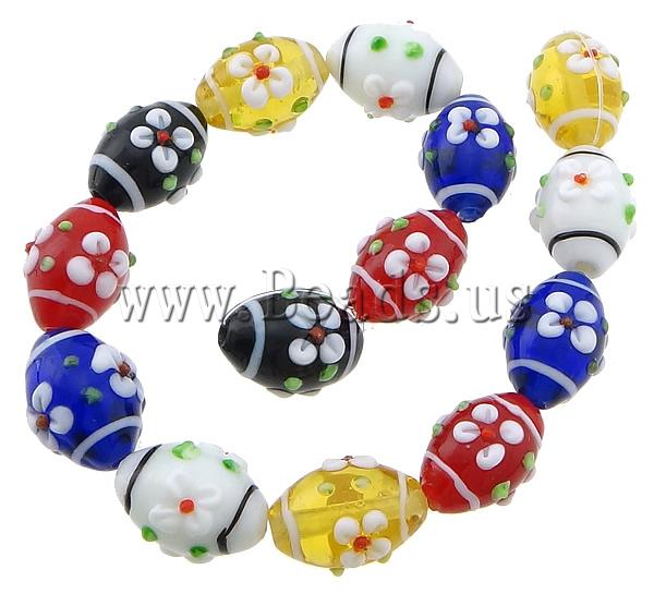 Free shipping!!!Bumpy Lampwork Beads,Costume jewelry, Oval, multi-colored, 20x15mm, Hole:Approx 2mm, Length:11 Inch