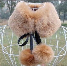 Vetement Fur Ball Design Cloth Casual Pashmina Style Women Winter Thick Warm Fox Fur Scarves Collar Bow Scarf 10 Colors V775(China (Mainland))