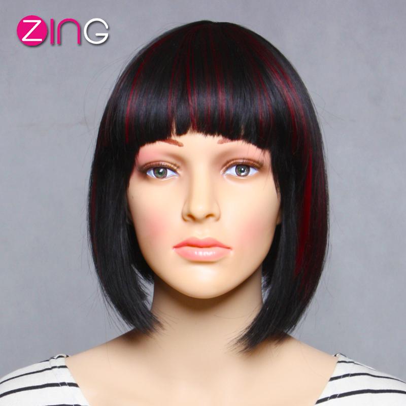 Zing Hair Fashion Cheap Cosplay Wigs Cute Short Haircuts Black+Red Short Wigs For Black Women Short Bob Wigs For Black Women(China (Mainland))