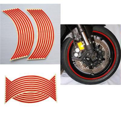 New Brand Hot Sale Useful 2 Sheet Wheel Sticker Reflective Rim Stripe Tape Bike Motorcycle Car Red Color(China (Mainland))