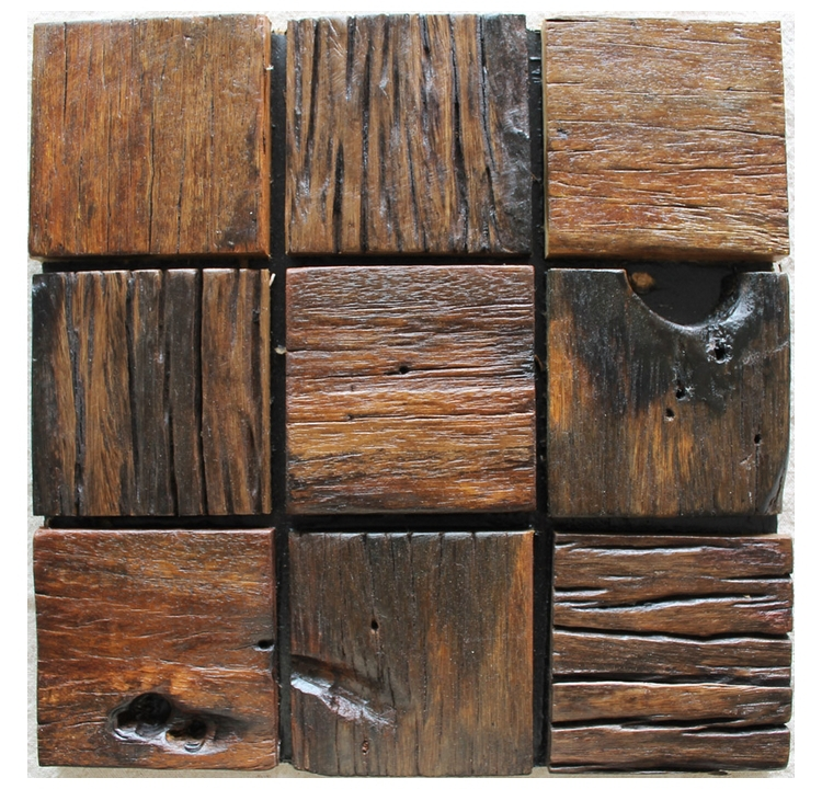 Rustic Tiles Mosaic Pattern Natural Wood Texture Wooden