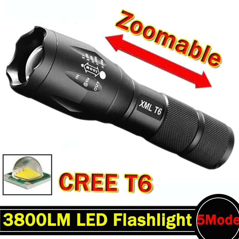 LED Flashlight 3800 Lumnes CREE XM-L T6 LED Tactical Flashlight Torch 5Mode Zoomable Flashlight Waterproof Torch Light lanternas(China (Mainland))