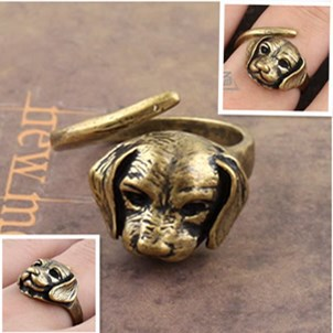 Fashion Bronze Copper Dog Ring Adjustable Animal Rings(China (Mainland))