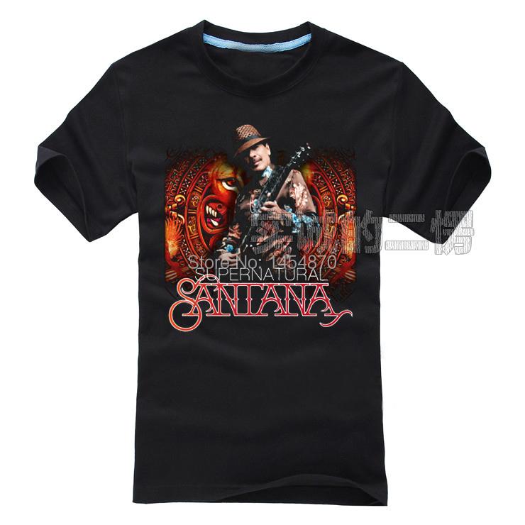 High Quality Cool Santana Band Guitar Hero blues Rock Brand shirt 3D items fitness Punk Hardrock heavy Metal 100%Cotton Black(China (Mainland))