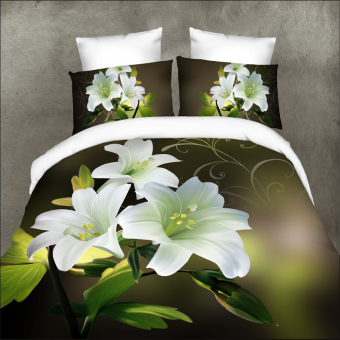 High definition white flower 3d bedding set 4pcs quilt cover set/bed sheet/bed spread/pillowcases home textile(China (Mainland))