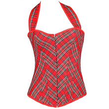 ONY510 sexy court corsets,S,M,L,XL,XXL, halter,scotland check skirt,, hot understand, push up bra,stereotypes,exotic dress