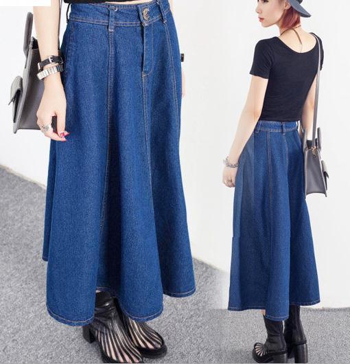 Длинные джинсовые женские юбки