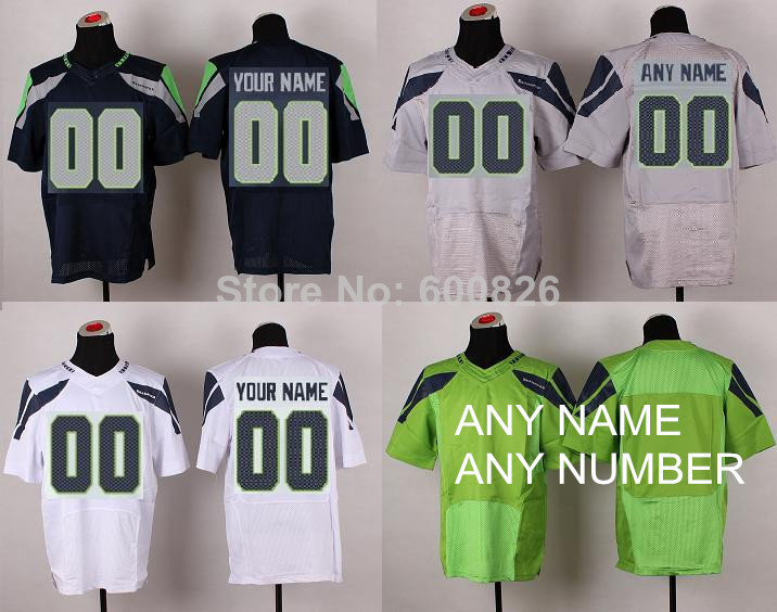 Cheap Custom Seattle American Football Elite Jerseys,NAVY GREY GREEN WHITE,Personalize Women Youth Game Jersey,Sitiched Logo(China (Mainland))