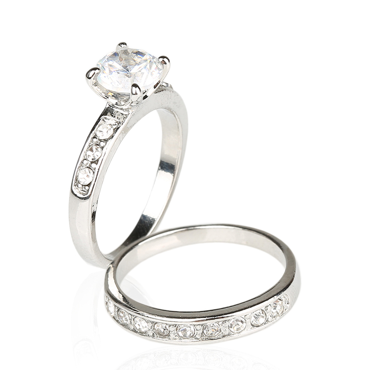 CZ Ring White Stone Simple Fashion Vintage Sterling Silver Jewelry Joyas Be P