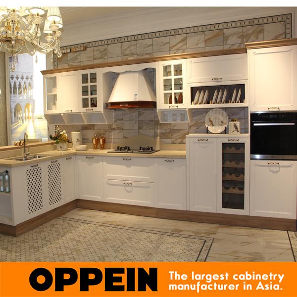Professional kitchen cabinet Blum Hardware kitchen cabinet Guangzhou Modern Wood Matte PVC Kitchen Cabinet OP16-041(China (Mainland))