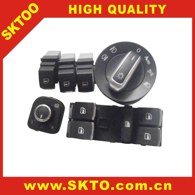 replacement parts Vw touran headlight switch top a side mirror knob regulator switch set Chrome Headlight
