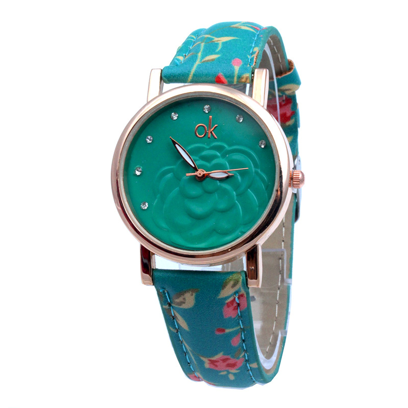 TOP Flower Printed Fashion Women Watch Geneva Style Lotto 7 Crystals Wristwatch Quartz Relogio Para Dama(China (Mainland))