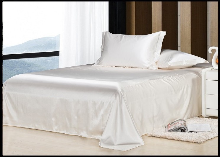 Luxury ivory cream milky white natural mulberry silk bedding set king size queen full twin duvet cover bedsheet bed linen sheet(China (Mainland))