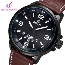 Nueva llegada 2015 marca de lujo reloj de cuero hombres reloj luminoso fecha calendario japón movimiento de cuarzo reloj