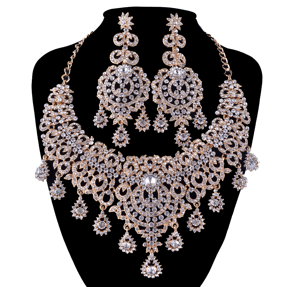 Buy gold jewelry sets bridal necklace for Costume jewelry for evening gowns