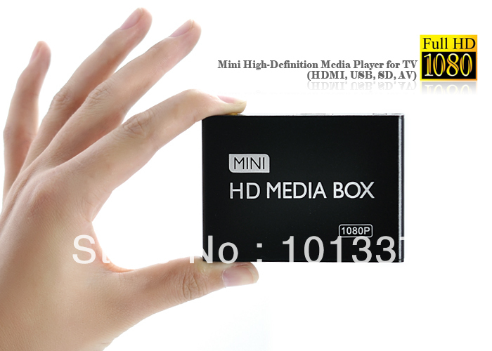 Mini 1080P Full HD Media Player High Definition 1920X1080P HDMI AV SD USB Media Player Free Shipping!(Hong Kong)