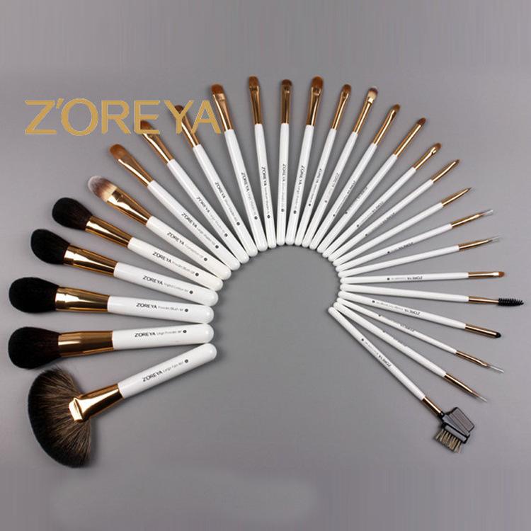 professional ZOREYA 28 pcs cosmetic makeup brush set Purple Pu bag beauty brush tools free shipping(China (Mainland))