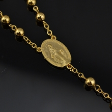 NEW catholic cross pendant Goddess 18k gold plated Trendy long rosary necklace CR027 for mens women