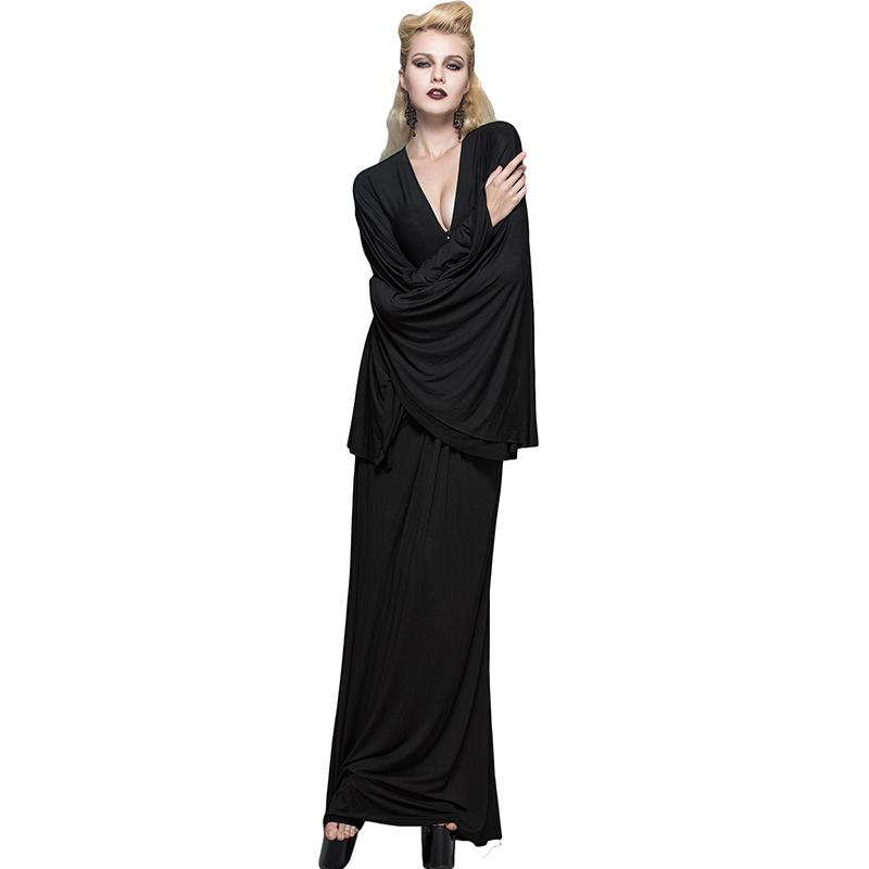 bodenlangen kleider mit flare h lse schwarz billige kleidung china. Black Bedroom Furniture Sets. Home Design Ideas