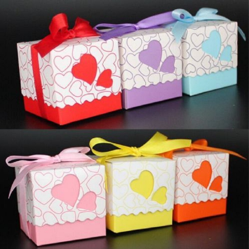 European 7 colors Love heart Candy Box Bridal Wedding casamento Candy Packaging Box Creative Sweets Candy Boxes, 100pcs/lot(China (Mainland))