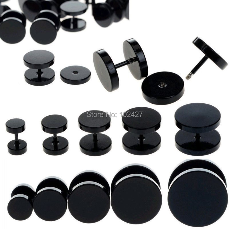1pc Black Fake Ear Plug Stud Stretcher Ear Tunnel Earring Piercing Stainless Steel Body Jewelry 6-14mm(China (Mainland))