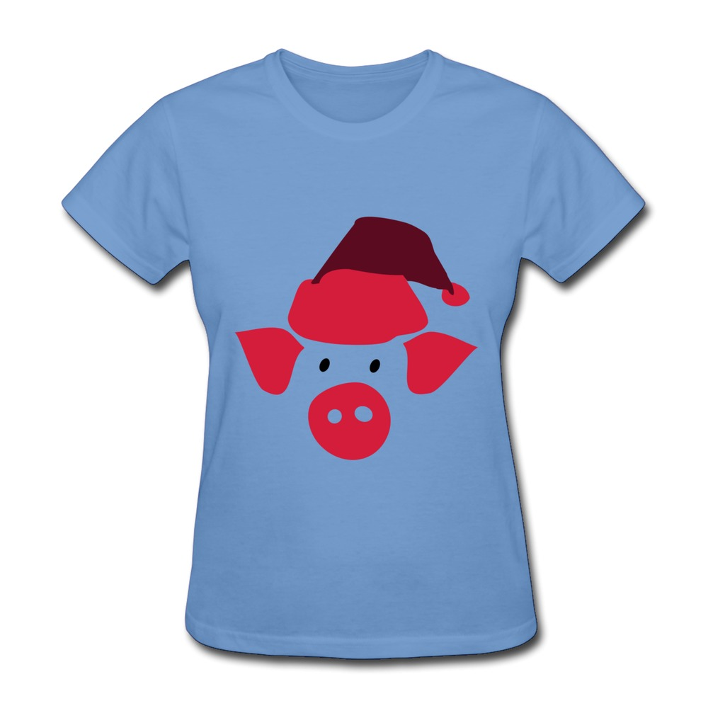 Creat Own Solid Women 39 S T Shirt Pig In Santa Hat Cool