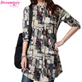Blouse feminina 2016 linen big dress shirt female ladies Long Sleeve Casual Blouse Plus Size women