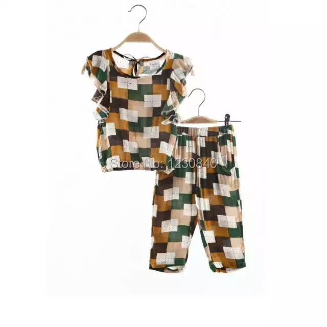 Baby girls clothing set kids fashion plaid clothes cotton short sleeve t shirts + pants - Fashion brands Pavilion store