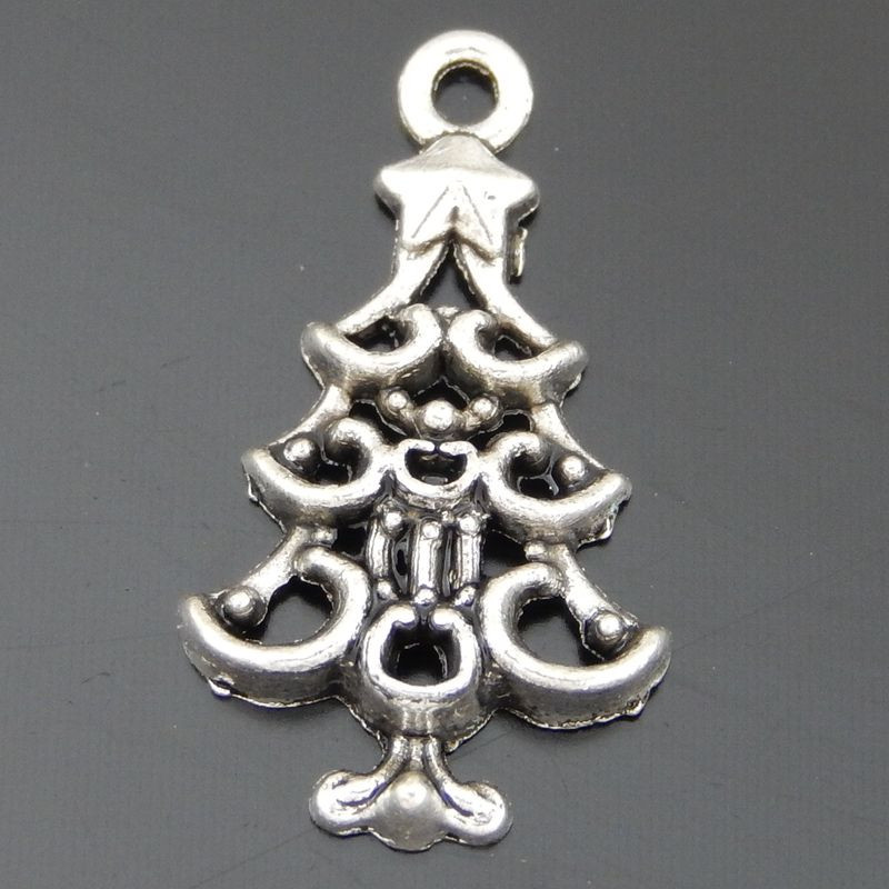 30PCS Antique Silver Christmas Tree Charms Alloy Pendant Jewelry Necklace Phone Key Chain Accessory Xmas Tree Hanging Decoration(China (Mainland))