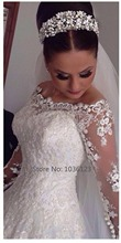 Vestidos de noiva Custom Made Handmade Tulle A line Long Sleeve Wedding Dresses 2015 Women Summer