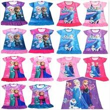 4 pçs/lote frete grátis Snow Queen Elsa Anna menina mangas curtas vestido verão dos desenhos animados pijama camisola pijamas camisa de noite vestidos