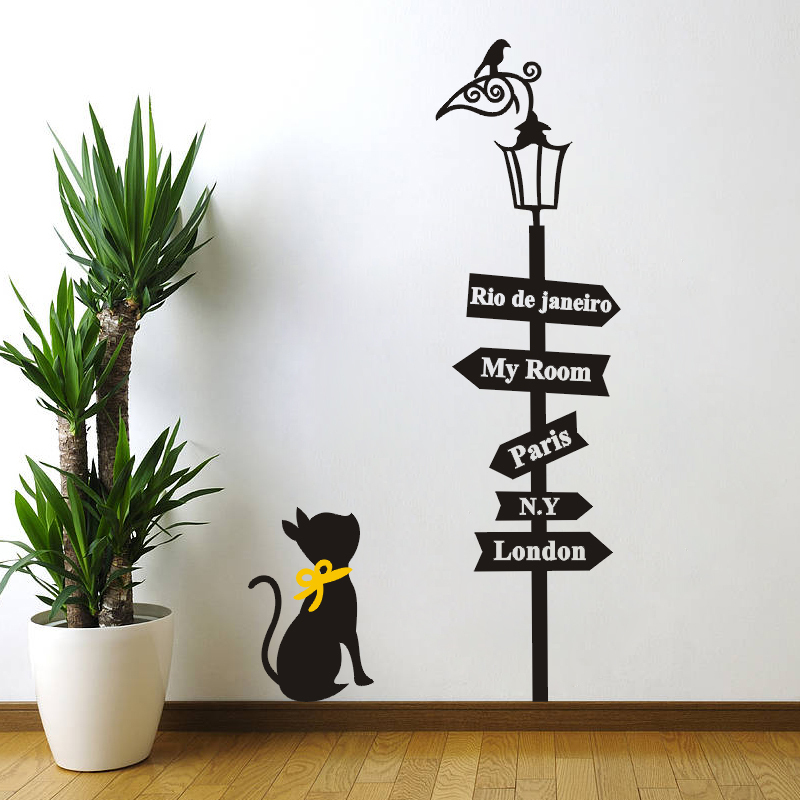 Lamp Wall Sticker Cat Under The Lamp Wall Decals Children London Paris My Room Signs Decals